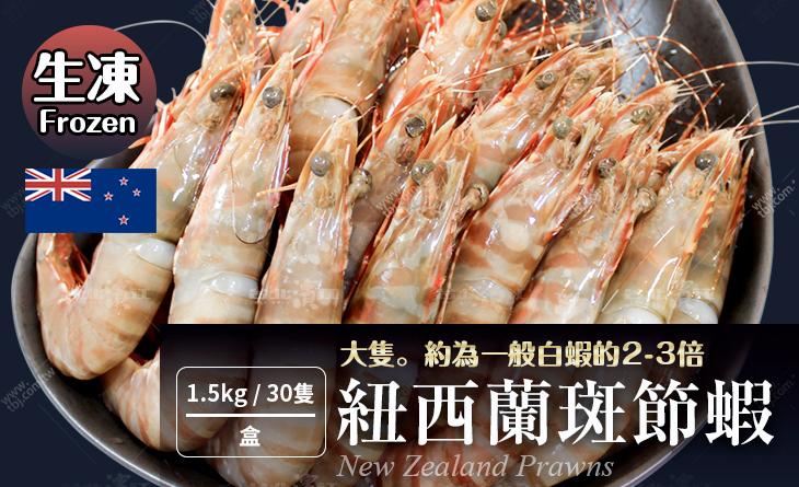 2018年菜預購【台北濱江】比一般蝦大兩三倍肉質肥美飽滿Q彈!紐西蘭斑節蝦1.5kg/1盒(30隻)