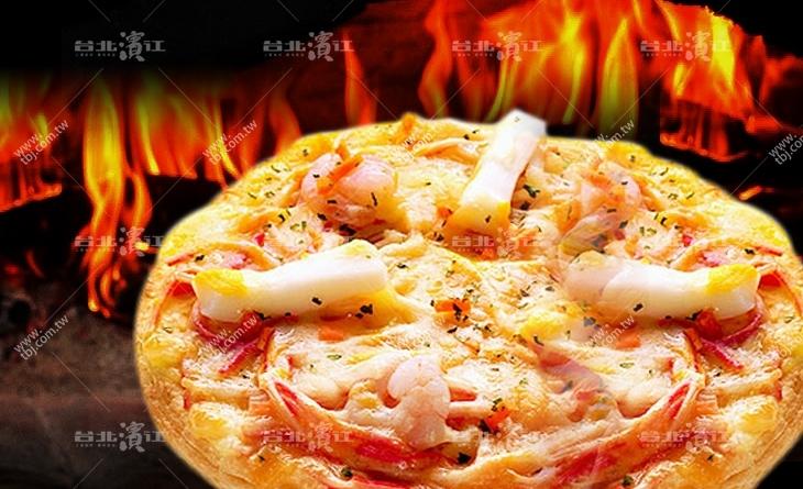 【台北濱江】搭配彈牙蝦肉及花枝,大人小孩都喜愛的口味~厚皮-綜合海鮮比薩170g/包