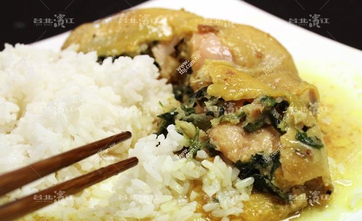 濱江 市場 好 吃【台北濱江】去骨雞腿充滿著波菜的清香,整隻雞腿切開來湯汁四溢-義式菠菜雞腿捲/無附飯